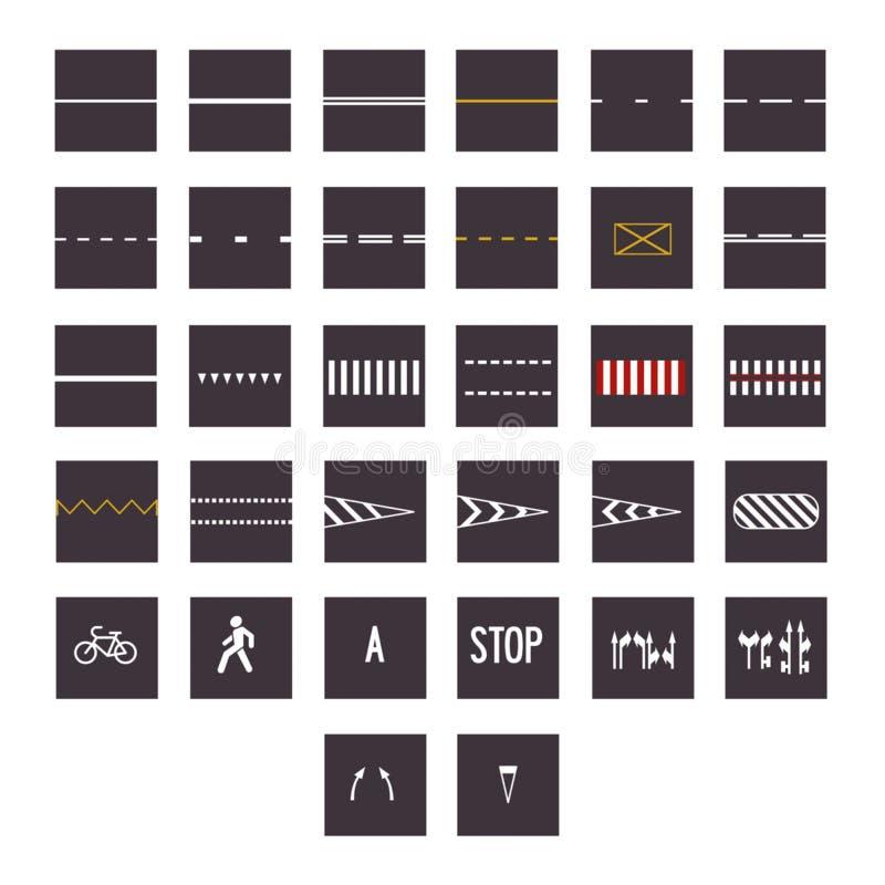 Großer Satz Verkehrsschilder und Arten lokalisiert auf weißem Hintergrund VE stock abbildung