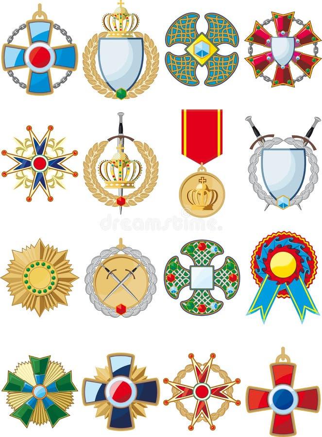 Satz verschiedene Medaillen lizenzfreie abbildung