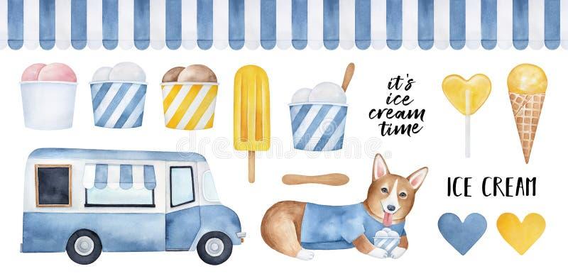 Großer Satz verschiedene leckere Eiscremeprodukte, lustiger Corgiwelpencharakter, Speisewagen, gestreiftes nahtloses Markisenmust stock abbildung