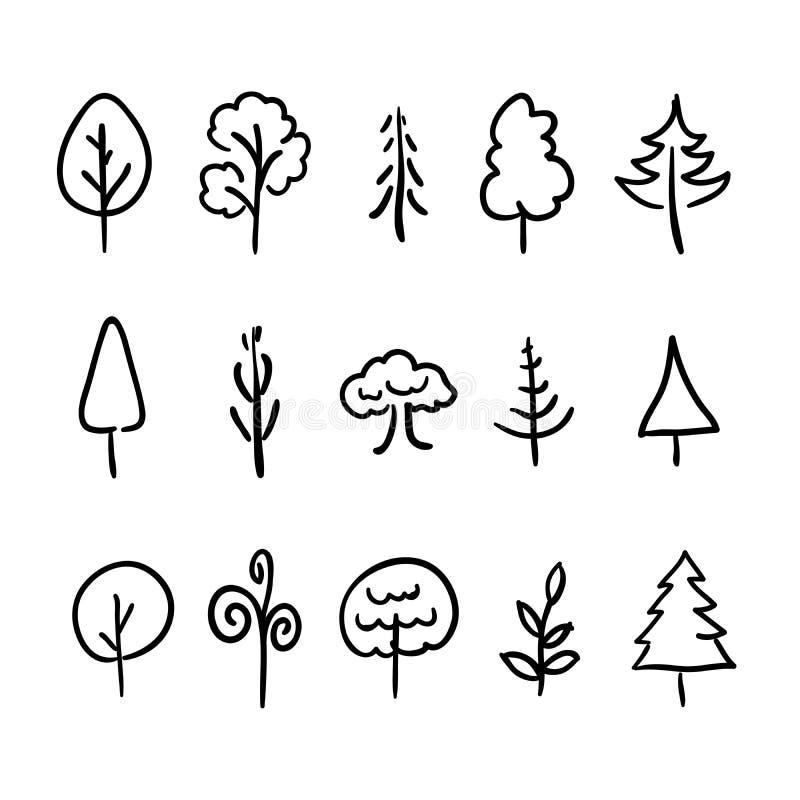 Großer Satz von Hand gezeichnete moderne Ikonen von Bäumen und von Anlagen lizenzfreie abbildung