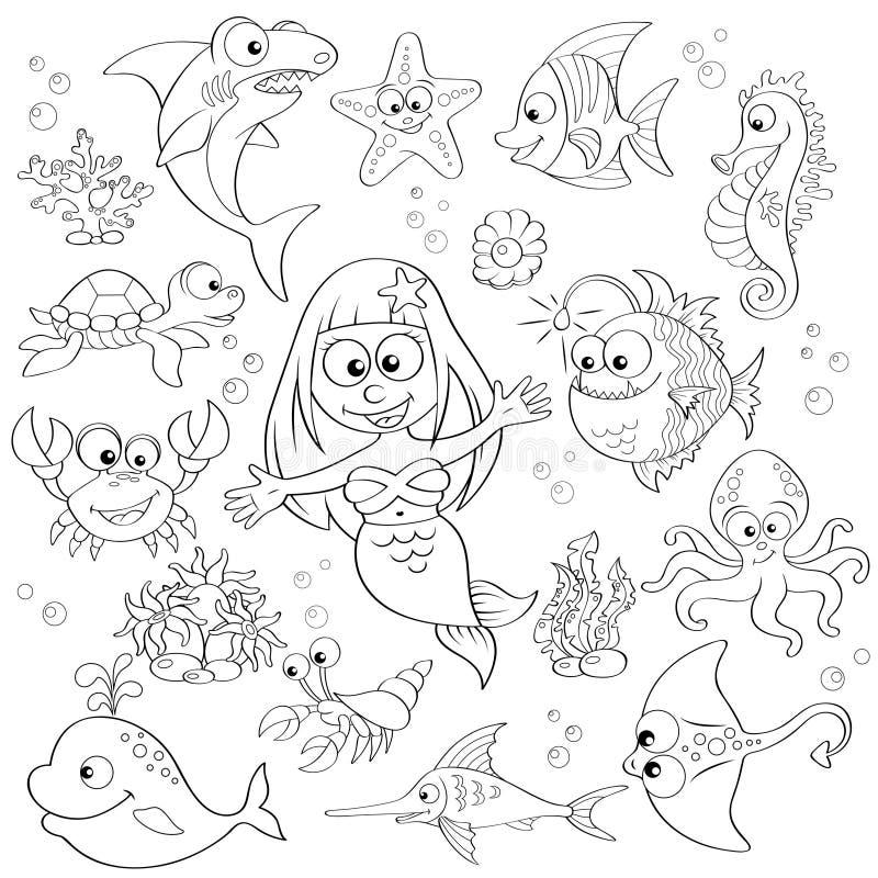 Großer Satz von netten Karikaturseetieren und von Meerjungfrau vektor abbildung