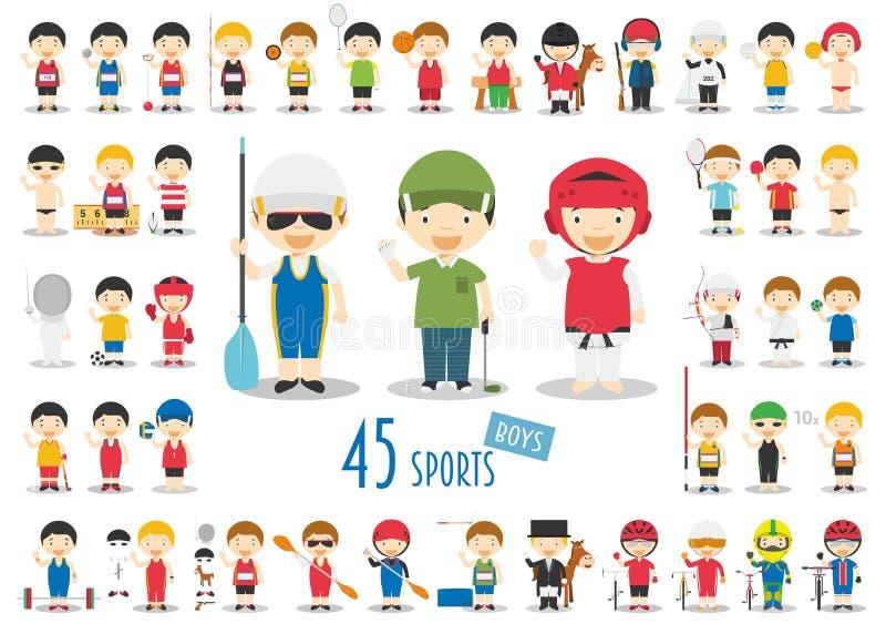 Großer Satz von 45 netten Karikatursportcharakteren für Kinder Lustige Karikaturjungen lizenzfreie abbildung