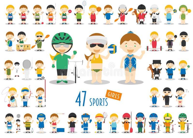 Großer Satz von 47 netten Karikatursportcharakteren für Kinder Lustige Karikaturmädchen stock abbildung