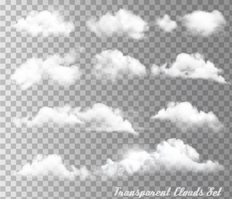 Großer Satz von transparenten unterschiedlichen Wolken und von Sonne vektor abbildung