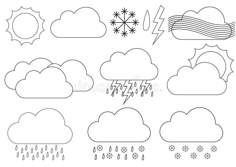 Großer Satz Wetterikonen z.B. für prognostizierte Anwendungen lizenzfreie abbildung