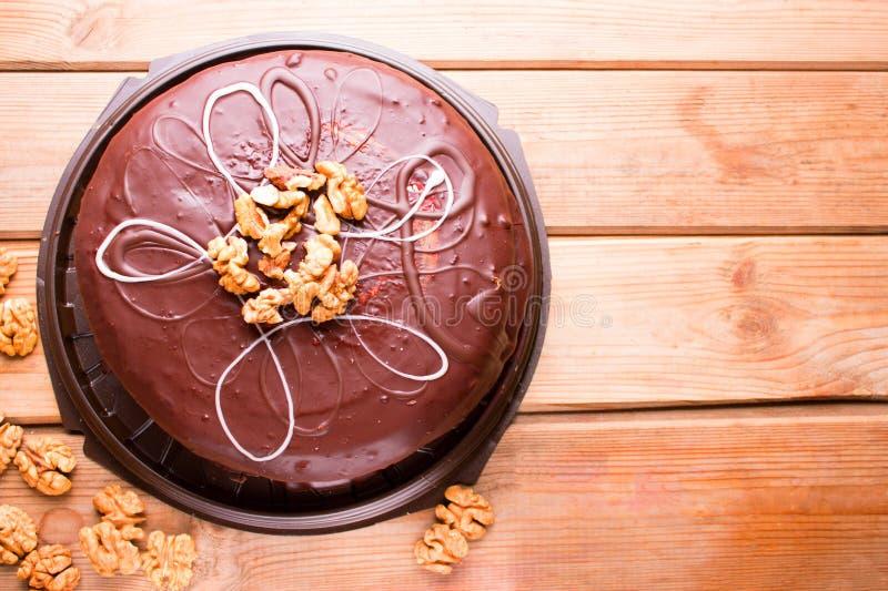 Großer Schokoladenkuchen stockfotos