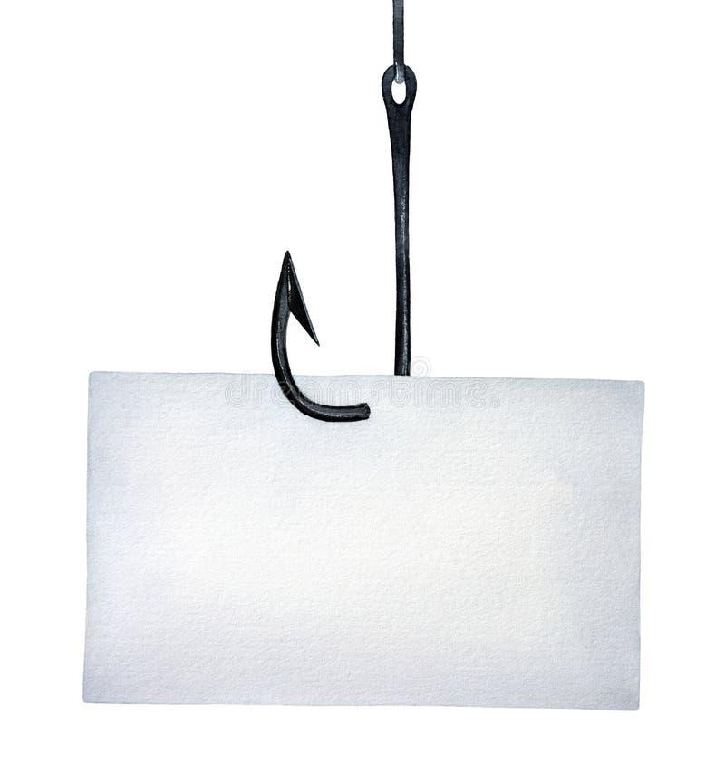 Großer schwarzer Metallfischereihaken mit Stück weißem unbeschriebenem Papier vektor abbildung