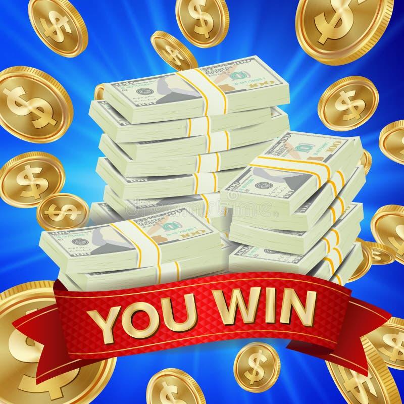 Großer Sieger-Hintergrund-Vektor Goldmünze-Jackpot-Illustration Große Gewinnfahne Für on-line-Kasino Spielkarten, Schlitze stock abbildung