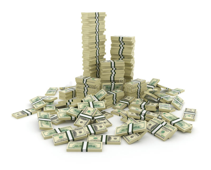 Großer Stapel des Geldes. Grüne Dollar USA-3D lizenzfreie abbildung