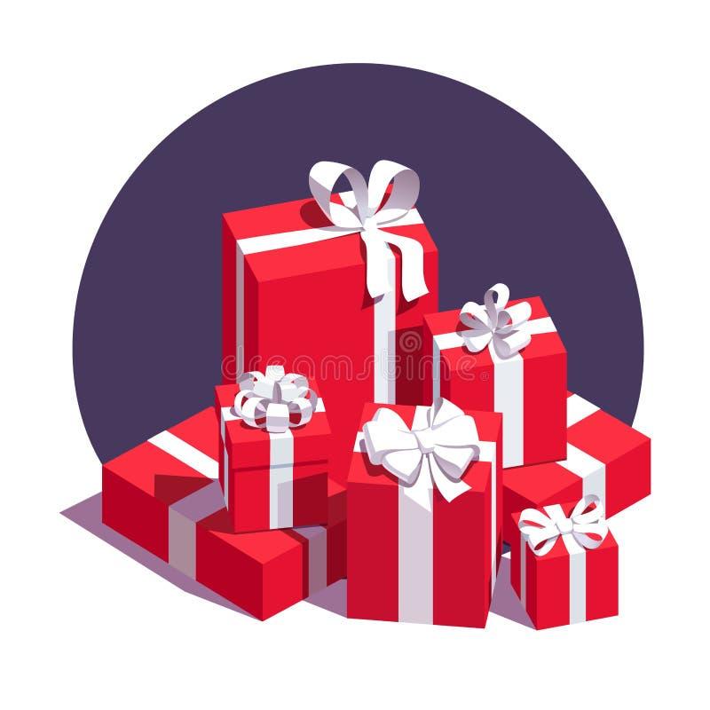 Großer Stapel von eingewickelten roten Geschenkboxen stock abbildung