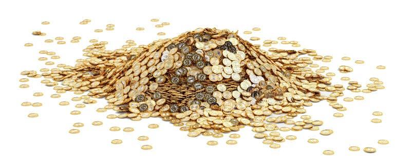 Großer Stapel von goldenem Bitcoins stock abbildung