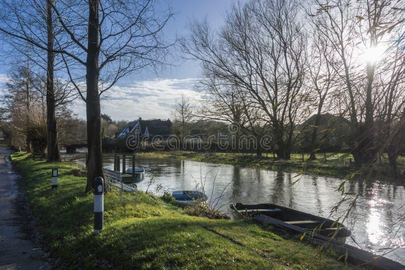 Großer Stour-Fluss, Chartham, Kent, Großbritannien lizenzfreies stockbild