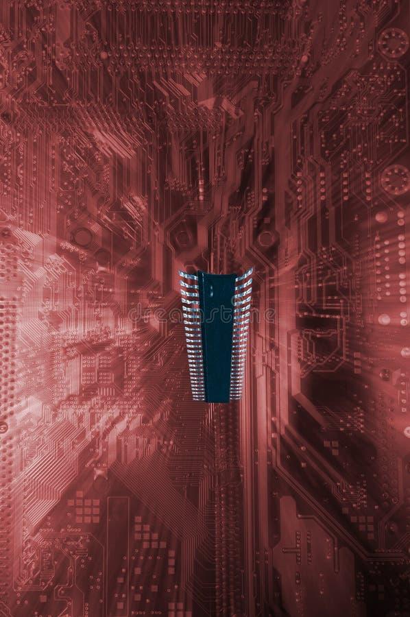 Großer surrealer Mikrochip und Motherboard lizenzfreie stockfotos
