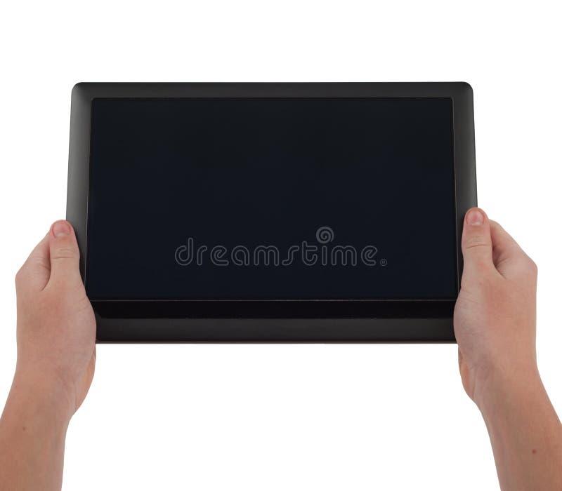 Großer Tablette-Computer mit dem leeren Bildschirm angehalten stockbilder