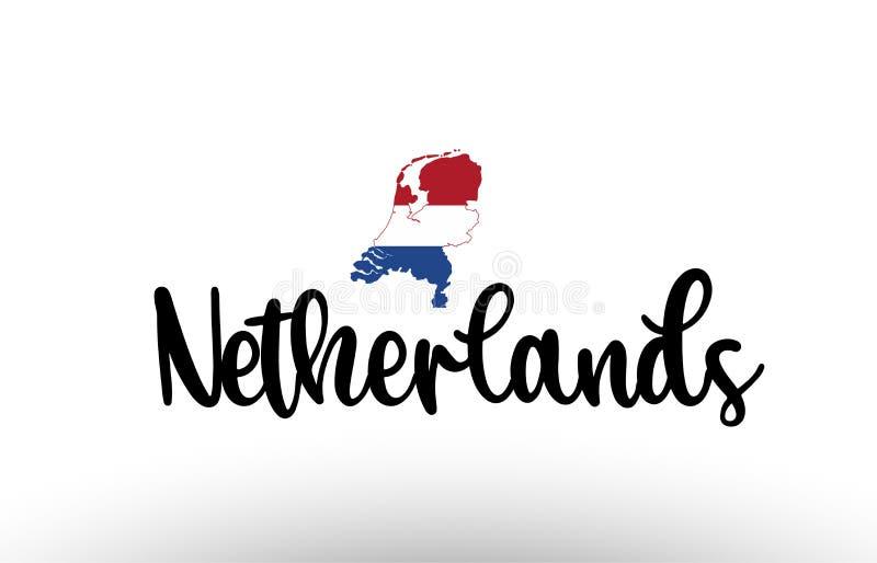 Großer Text des niederländischen Landes mit Flagge innerhalb des Kartenkonzeptlogos lizenzfreie abbildung
