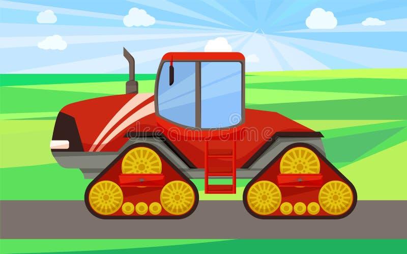 Großer Traktor auf Land-Maschinen-Vektor-Illustration lizenzfreie abbildung