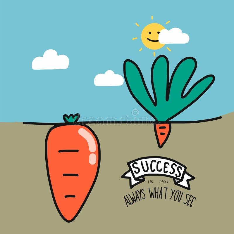 Großer und kleiner Karotten- und Worterfolg ist nicht immer, was Sie Karikaturillustration sehen, Geschäftskonzept lizenzfreie abbildung