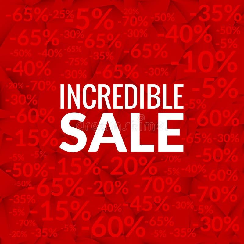 Großer unglaublicher Verkaufshintergrund mit Prozentmuster auf Rot stock abbildung