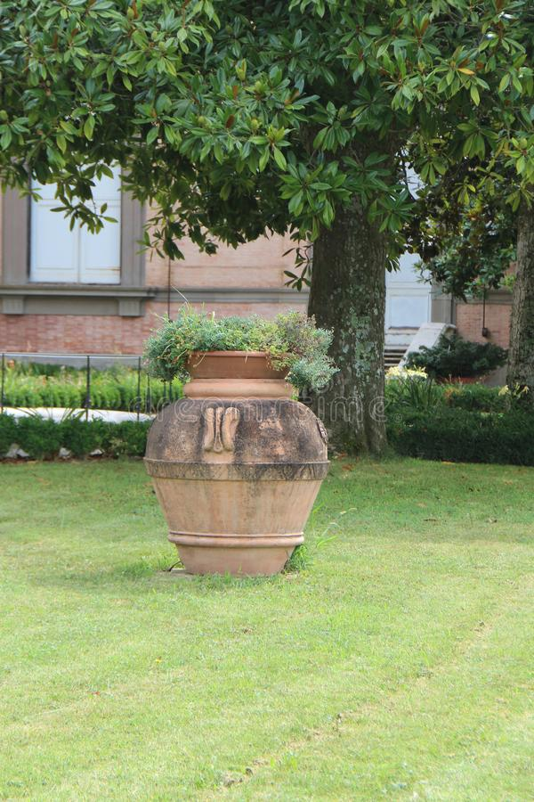 Großer Vase auf dem Rasen lizenzfreie stockfotografie