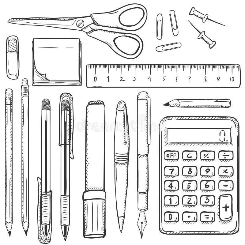 Großer Vektor-Satz Skizzen-Briefpapier-Einzelteile vektor abbildung