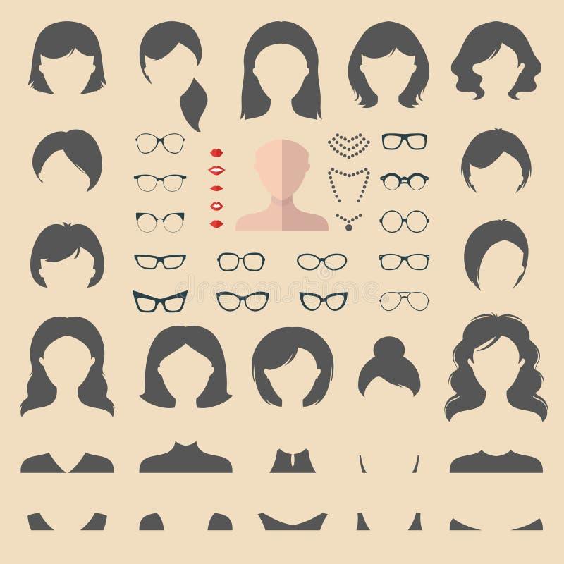 Großer Vektorsatz von flachem kleiden oben Erbauer mit verschiedenen Frauenhaarschnitten, Gläsern, den Lippen usw. Frau stellt Ik stock abbildung
