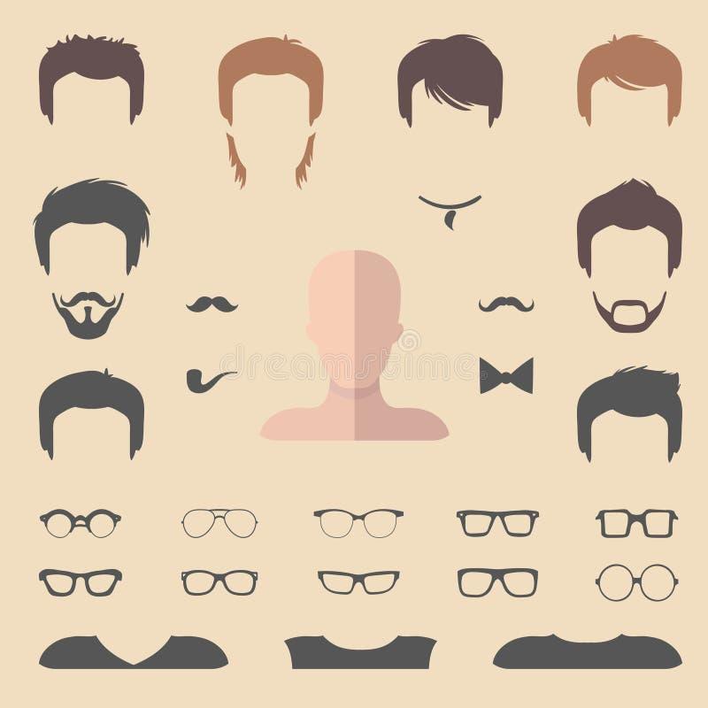 Großer Vektorsatz von flachem kleiden oben Erbauer mit verschiedenen Mannhaarschnitten, Gläsern, Bart usw. Mann stellt Ikonenschö vektor abbildung