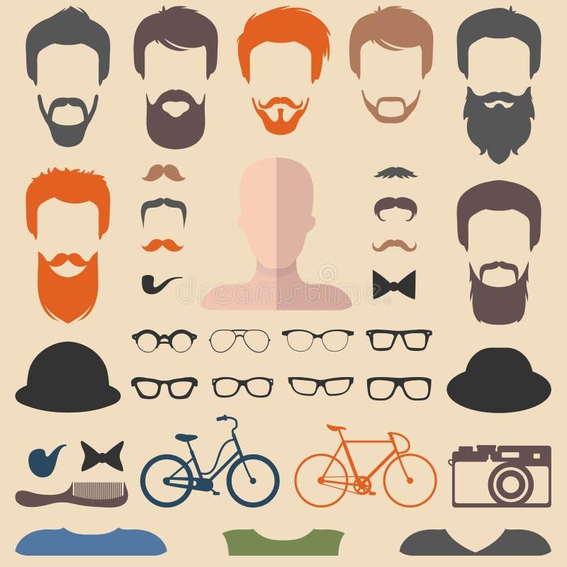 Großer Vektorsatz von kleiden oben Erbauer mit verschiedenen Mannhippie-Haarschnitten, Gläsern, Bart usw. vektor abbildung