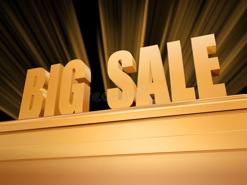 Großer Verkauf über goldenem Bedienpult stockfoto