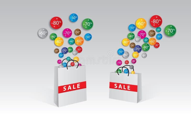 Großer Verkauf, Aufkleber und Fahnen, Förderungshintergrund lizenzfreies stockfoto