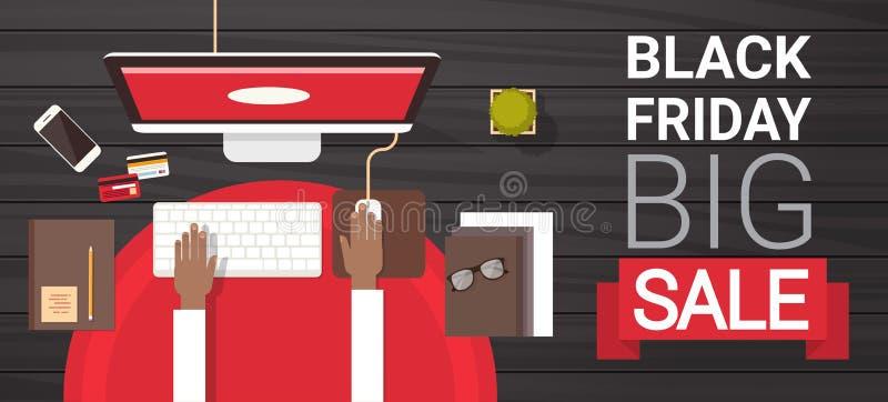 Großer Verkauf Black Fridays unterzeichnen vorbei die Hand, die auf dem Computer-Desktop über Ansicht-Feiertags-Rabatt-Fahnen-Kon lizenzfreie abbildung