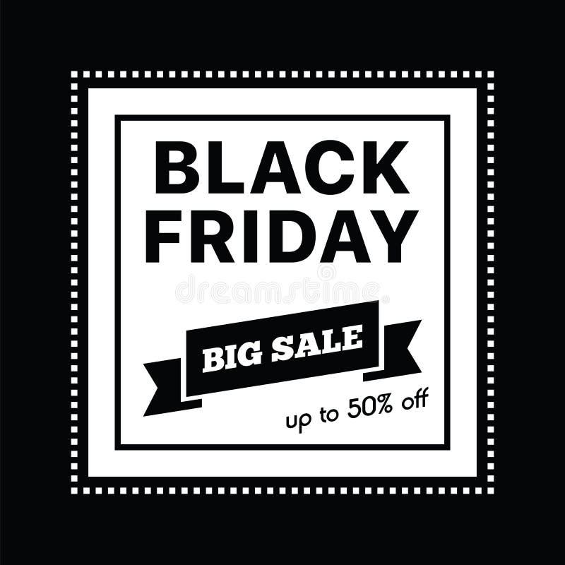 Großer Verkauf fünfzig Prozent auf schwarzer Freitag-Einkaufsvektorillustration lizenzfreie abbildung