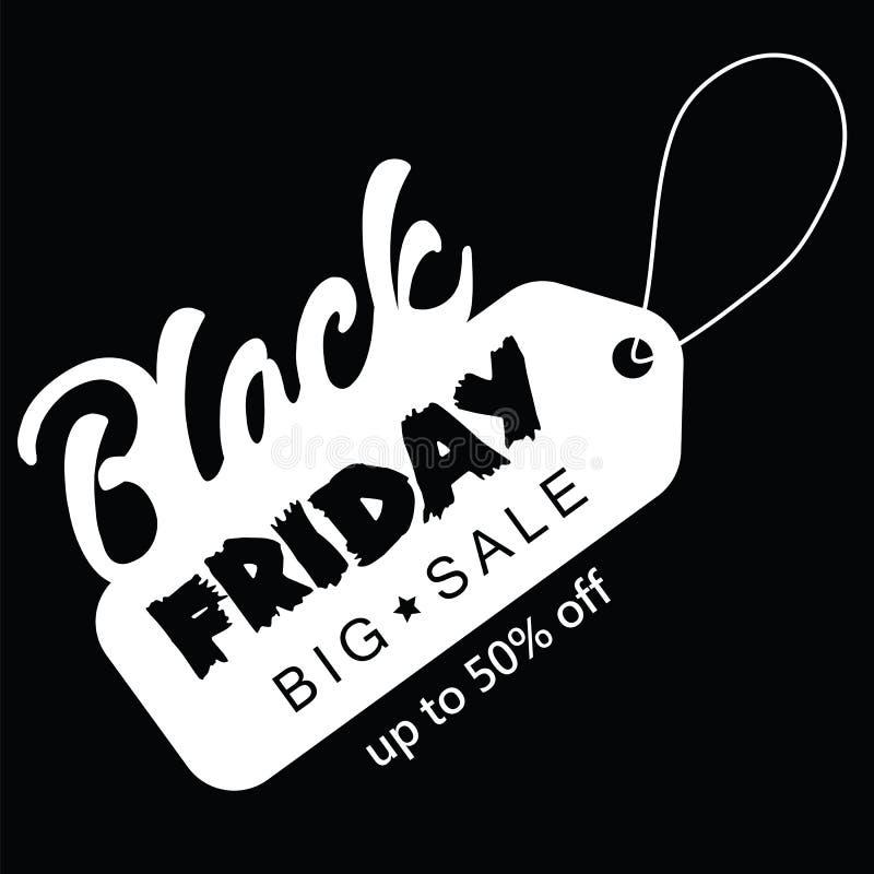 Großer Verkauf fünfzig Prozent auf schwarzer Freitag-Einkaufsvektorillustration stock abbildung