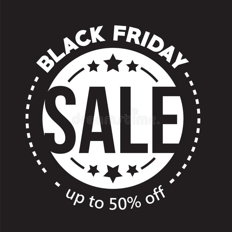Großer Verkauf fünfzig Prozent auf schwarzer Freitag-Einkaufsvektorillustration vektor abbildung