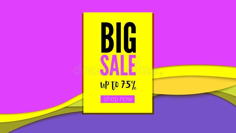 Großer Verkauf Heißes Angebot für Käufer auf abstraktem hellem Hintergrund von herausgeschnitten von den Papierschichten Stehen S vektor abbildung
