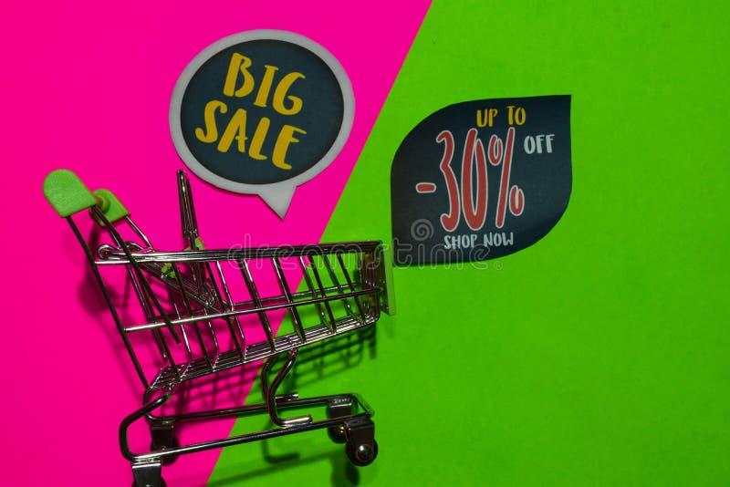 Großer Verkauf und bis -30% weg vom Geschäfts-jetzt Text und dem Einkaufswagen stockbild