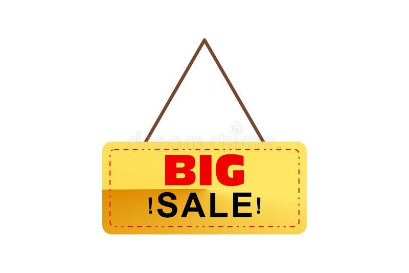 Gro?er Verkaufsaufh?ngerentwurf spezielles Verkaufsangebot mit rotem, schwarzem und goldenem Hintergrundvektor stock abbildung