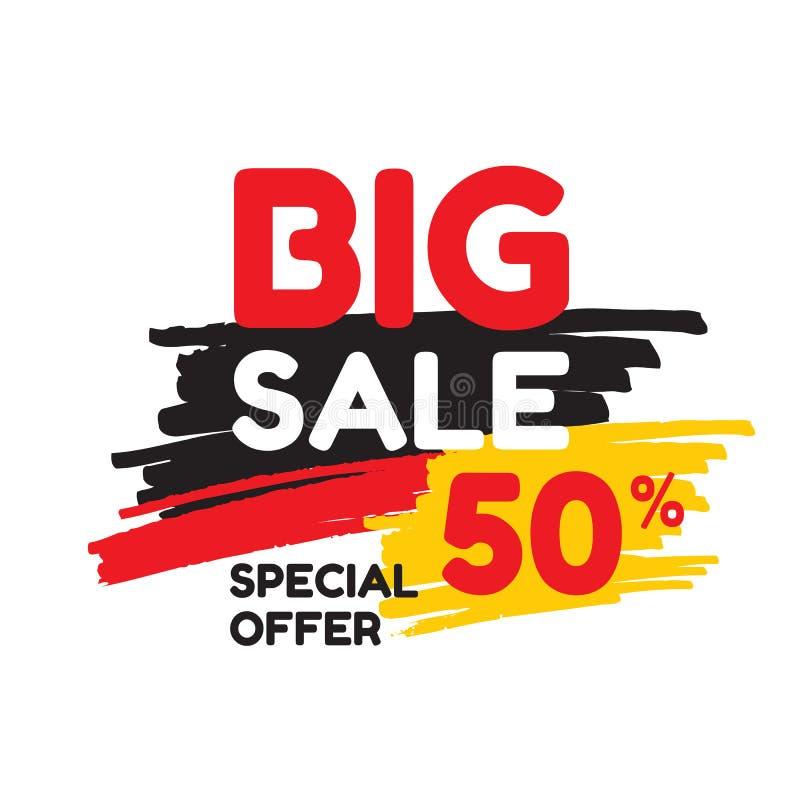 Großer Verkaufsrabatt 50% - vector Fahnenkonzeptillustration Abstrakter Werbungsförderungsplan auf weißem Hintergrund stock abbildung