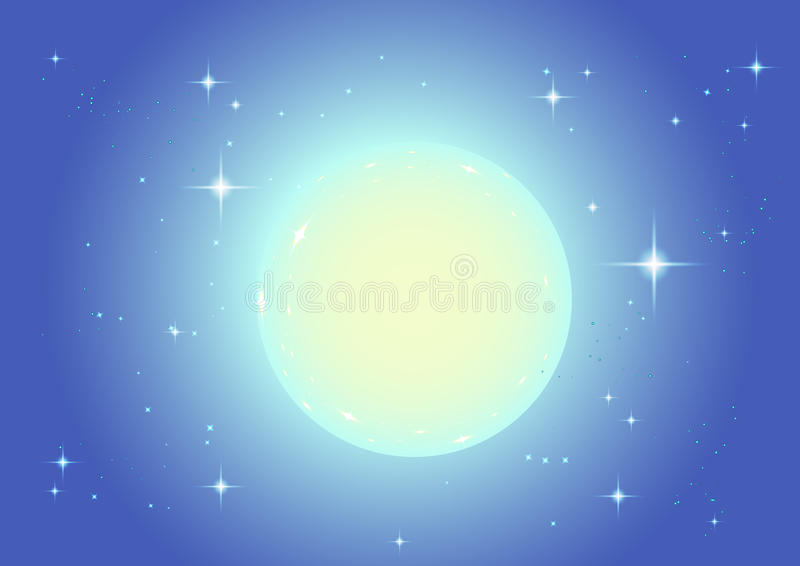Großer Vollmond im Nachtsternhimmel vektor abbildung