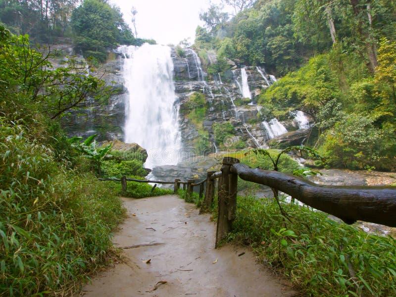 Großer Wasserfall im tiefen Wald stockfotografie