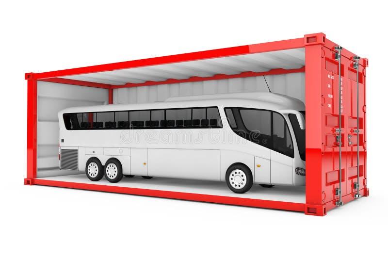 Großer weißer Trainer Tour Bus in der roten Versandverpackung mit entfernt stock abbildung