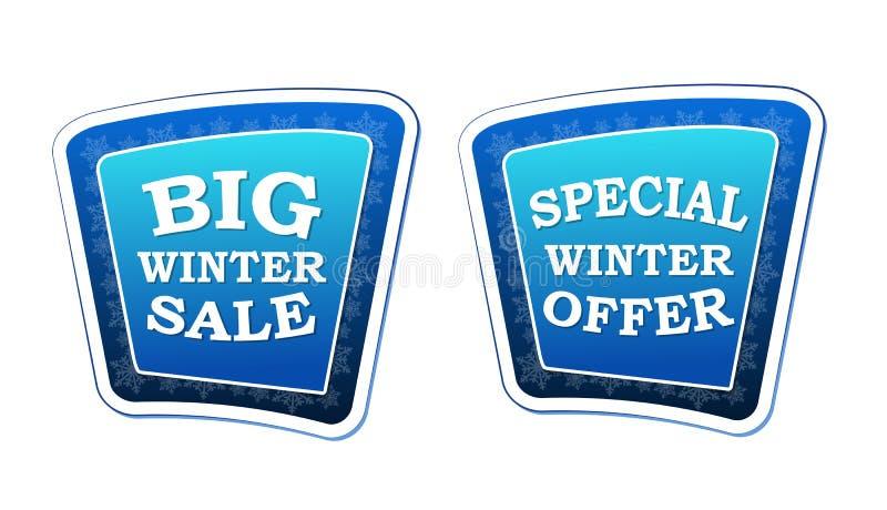 Großer Winterschlussverkauf und spezieller Winter bieten auf Retro- blauen Fahnen w an stock abbildung
