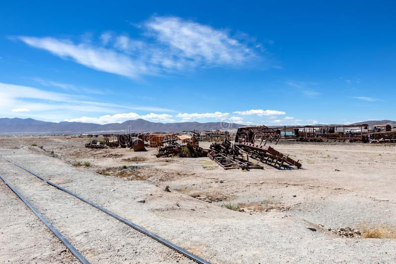 Großer Zug-Friedhof oder Dampflokomotivkirchhof bei Uyuni, Bolivien stockfoto