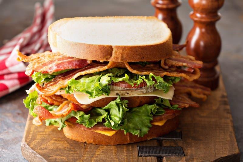 Großes BLT, Speckkopfsalat und Tomatensandwich lizenzfreies stockbild