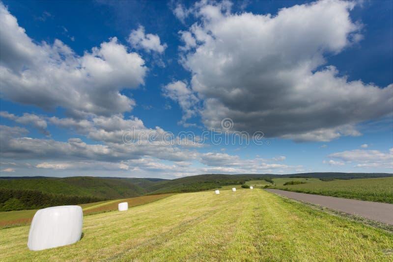 Großes cloudscape über einem Feld in Deutschland lizenzfreie stockfotografie