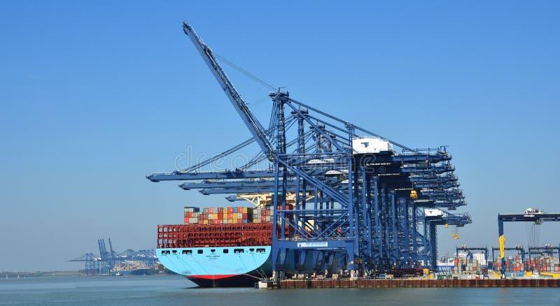 Großes Containerschiff, das an Felixstowe-Hafen geladen wird stockfoto