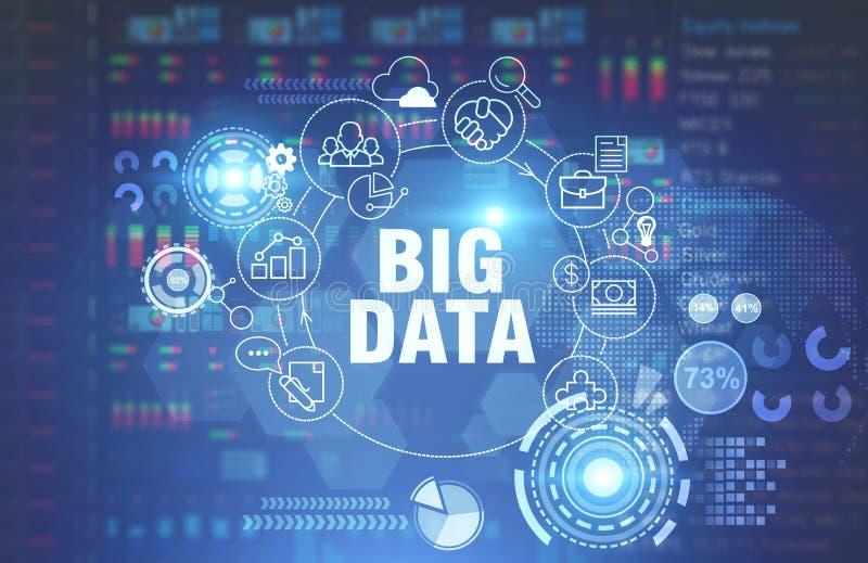 Großes Datenkonzept, glühender blauer Hintergrund stockbild