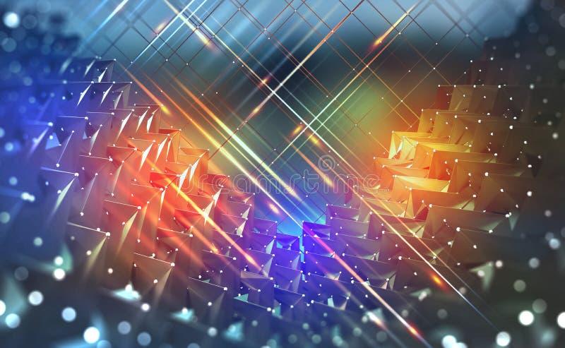 Großes Datenkonzept Helle Neonblitze auf einem technologischen Hintergrund vektor abbildung