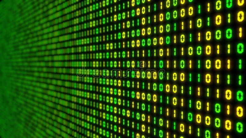 Großes Datenkonzept mit binär Code glühende digitale Illustration der Zahlen 3d lizenzfreie abbildung