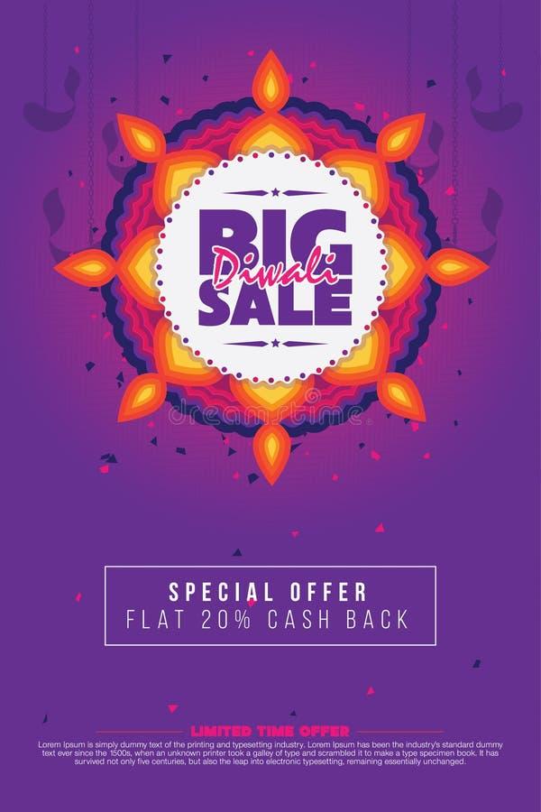 Großes Diwali-Verkaufs-Plakat stock abbildung