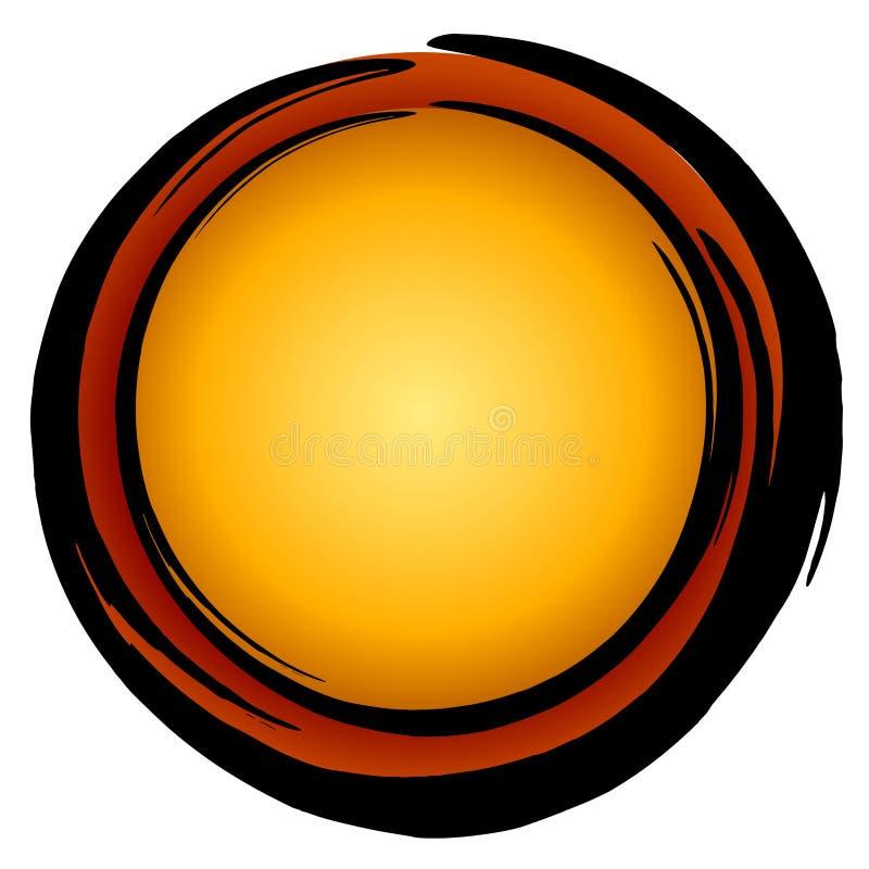 Großes dunkles Goldrote Kreis-Ikone lizenzfreie abbildung
